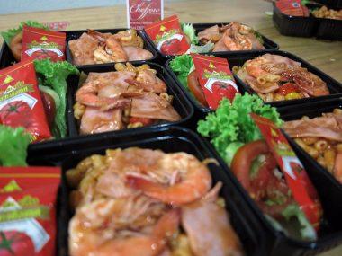 อาหารกล่อง-มักกะโรนีแฮมกุ้ง